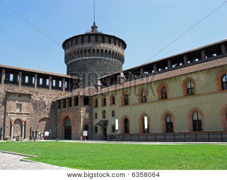 Tower of Sforzesco Castle Milan Italy.