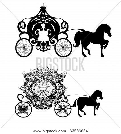 vintage carriage silhouette  - two  , vector illustration icons poster