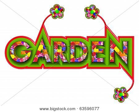 Garden Sign With Floral Pattern
