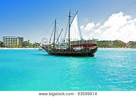 Sailingboat anchoring in the Caribbean