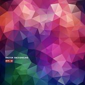 Abstract vector polygonal background, multi-coloured, triangle form poster