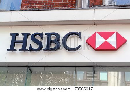 The sign of HSBC bank on Oxford Street in London