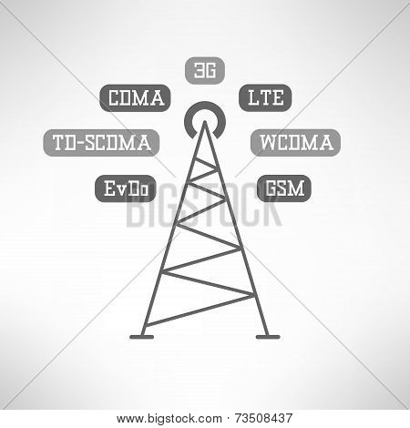 Mobile internet tower infographics. Vector