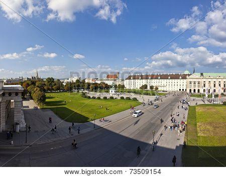 Panorama View At Volksgarten Park And The Heldenplatz In Vienna