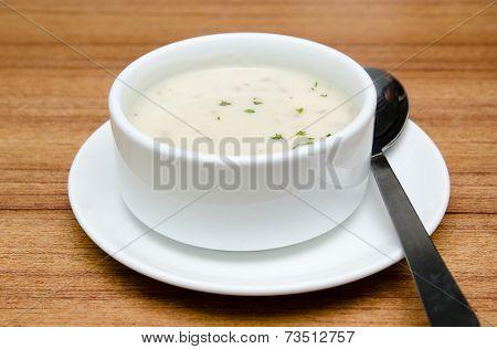 Creamy Mushroom Soup In A White Bowl