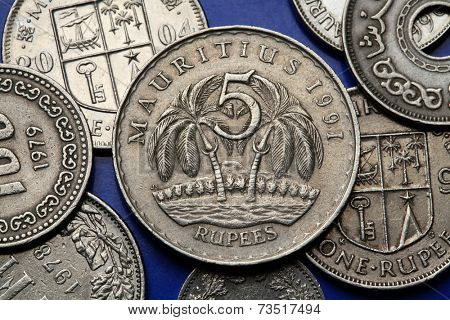 Coins of Mauritius. Two palm trees depicted in the Mauritian five rupee coin. poster