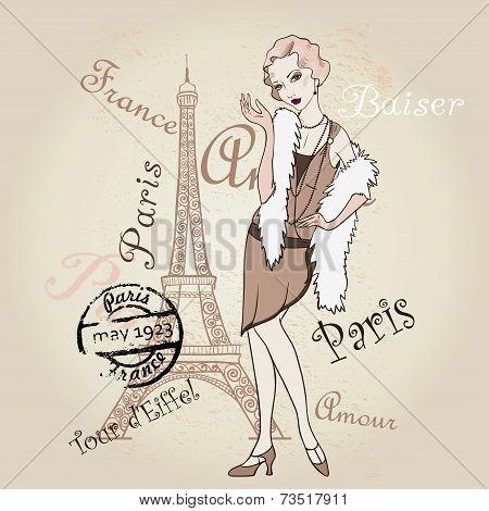 Vector Retro Paris. Fashinable Girl