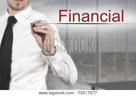 Businessman Writing Financial In The Air