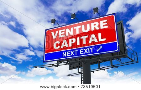 Venture Capital - Red Billboard on Sky Background. Business Concept. poster