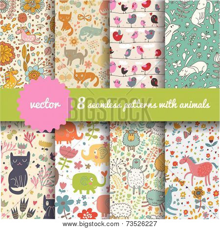 8 stylish seamless patterns with funny cartoon animals in vector