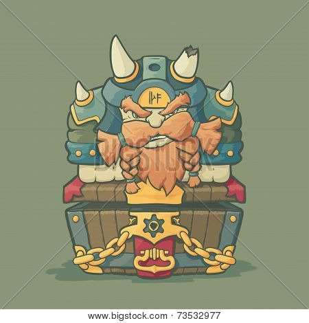 Cartoon styled dwarf sitting on the chest