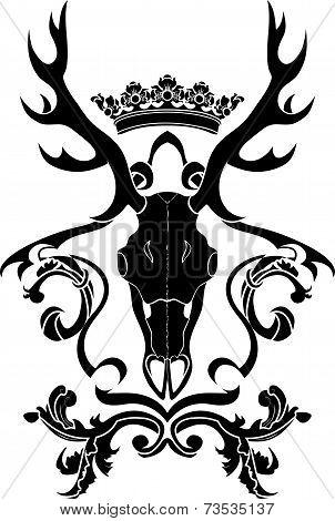 Heraldic Symbol With Deer Skull