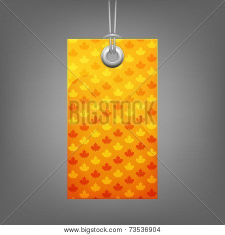 Yellow price tag with leaf