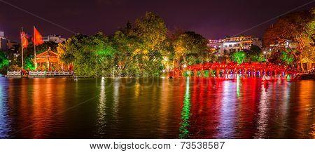 Hanoi Hoan Kiem Lake And Huc Bridge At Night, Vietnam