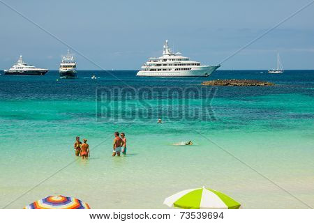 Formentera,Spain,21 August,2013:Luxury Yacht In Turquoise Beach Of Formentera Illetes