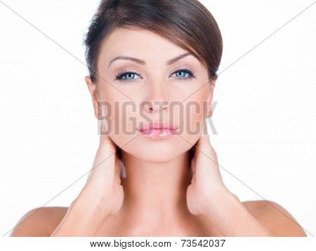 Close up Young Pretty Woman Both Hands on the Neck. Emphasizing Beautiful Face. Isolated on White Background.