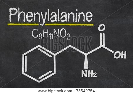 Blackboard with the chemical formula of Phenylalanine