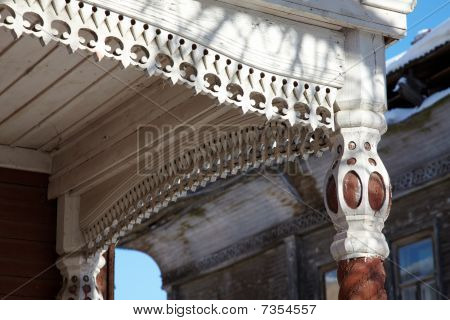 Wood Carving At Antique House Entrance, Vologda, Russia