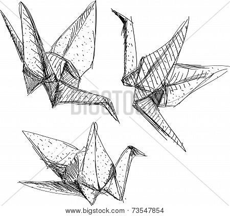 Origami Paper Cranes Set Sketch. The Black Line On White Background