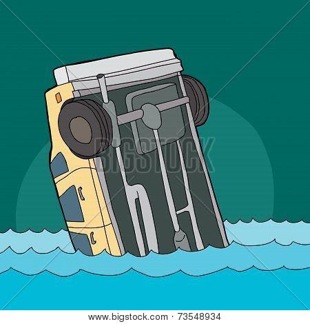 Yellow Car Sinking In Water