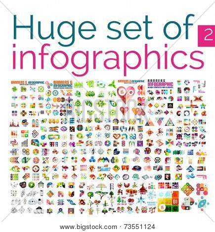 Huge mega set of infographic templates, set 2