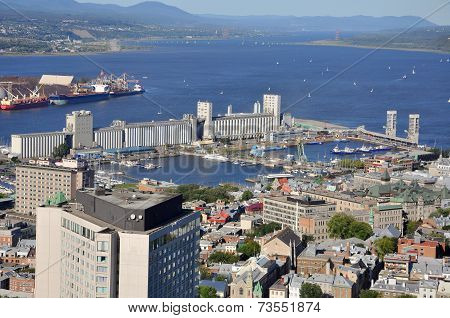 Port of Quebec and St Lawrence River Aerial view, view from Observatoire de la Capitale, Quebec City, Quebec, Canada. The Port of Quebec is the second largest port in Quebec Province. poster