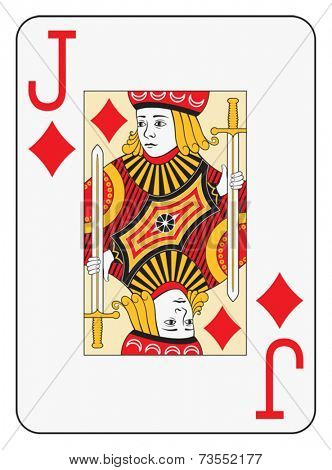 Jumbo index jack of diamonds playing card