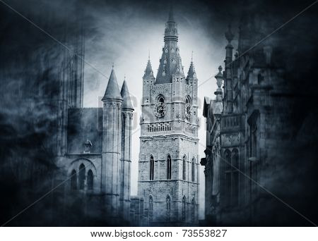 Halloween background with spooky and ancient buildings over smoky background