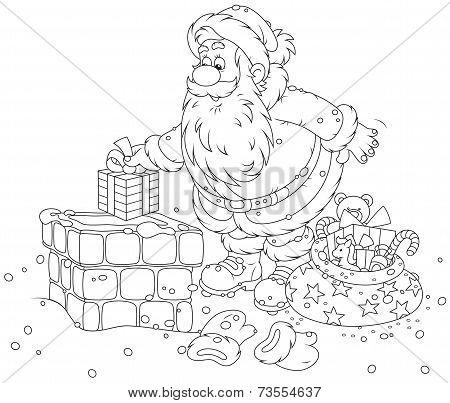 Santa Claus on a housetop