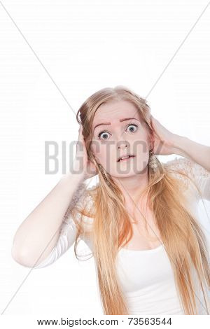 Shocked Young Woman With Hands On Head