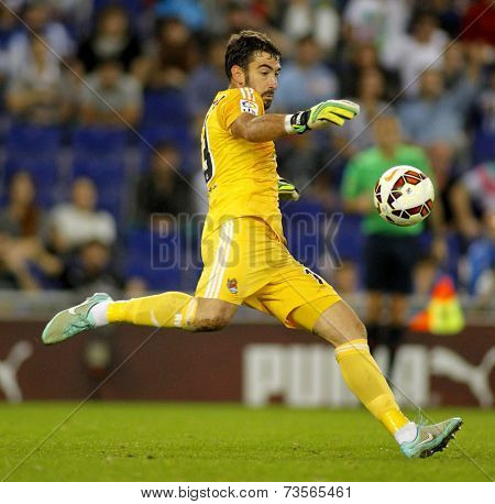 BARCELONA - OCT, 5: Enaut Zubikarai of Real Sociedad in action during a Spanish League match against RCD Espanyol at the Estadi Cornella on October 5, 2014 in Barcelona, Spain