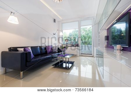 Modern Living Room In White Design