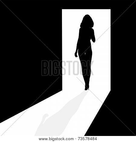 Silhouette In The Doorway