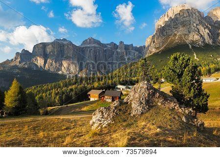 Sella group at Passo Pordoi, Dolomites, Italy
