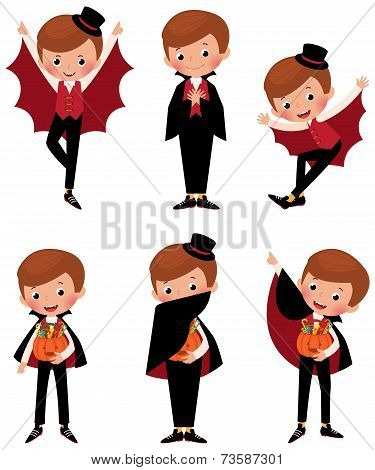 Set Of Halloween Vampire In Various Poses