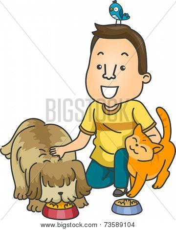 Illustration Featuring a Man Working as a Pet Sitter