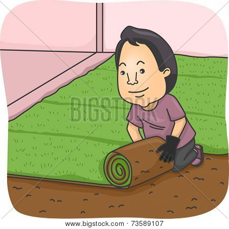 Illustration Featuring a Man Rolling Out a Strip of Sod