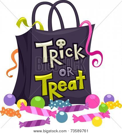 Illustration Featuring a Trick or Treat Bag Surrounded by Candies