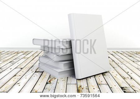 3d books with blank covers on wooden floor