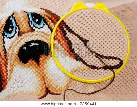 Cross Stitching In Progress