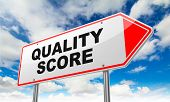 Quality Score - Inscription on Red Road Sign on Sky Background. poster