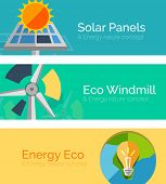 Eco-friendly energy flat design concepts, banners. Solar panels and sun, windmill, Earth and light bulb poster