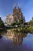 BARCELONA SPAIN - OCTOBER 8: La Sagrada Familia - cathedral designed by Antonio Gaudi which is being build since 1882 and not finished yet October 8 2014 in Barcelona Spain. poster
