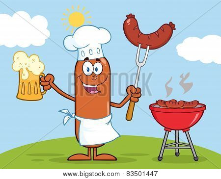 Chef Sausage Cartoon Character Holding A Beer And Weenie Next To BBQ