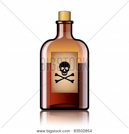 Poison Bottle Isolated On White Vector