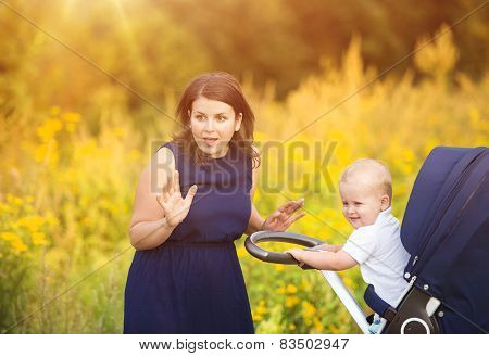 Mother and son enjoying life together outside