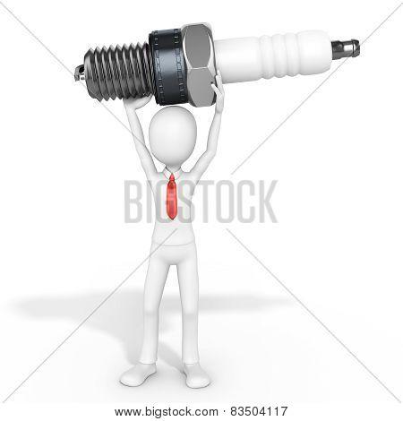 3D Man Businessman With Detailed Sparkplug