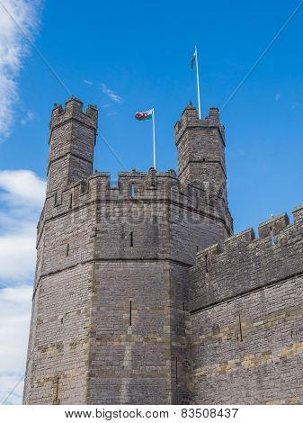 View on the polygonal Eagle Tower of Caernarfon Castle, well-known for the 1969 investiture of Charles as Prince of Wales by HM Queen Elizabeth II poster
