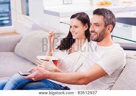 Enjoying Their Favorite Show.