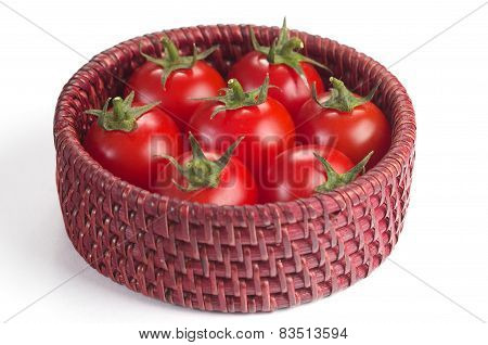 Cherry Tomatoes In The Small Basket